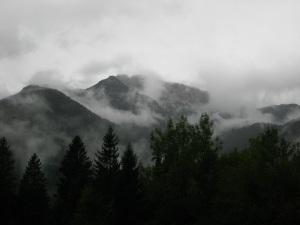 The Julian Alps shrouded in mist