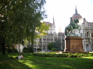 Budapest offers many great places to read, like outside the Parliament building