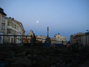 The lower square by twilight, and under construction