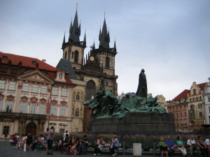 Prague Main Square. Church of Our Lady Before Týn and the statue of Jan Hus.